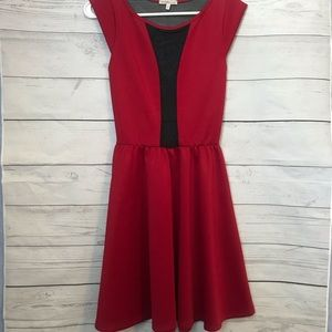 Charlotte Russe   Deep Red and Black Mesh Dress
